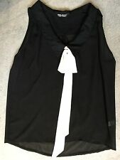 BLACK SHEER SLEEVELESS BLOUSE WITH CREAM RIBBON AT COLLAR FROM SELECT - SIZE 10
