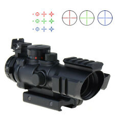 Top 4X32 RGB Prismatic Rifle Scope with Fiber Optic Sight Tri-illuminated VEG48