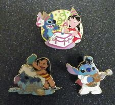 LOT 3 DISNEY PINS LILO AND STITCH BIRTHDAY CAKE BATH TIME ELVIS WHITE W UKULELE