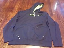 Nike Therma-Fit Men's Large Hoodie Black Neon Green Pullover Front Pocket