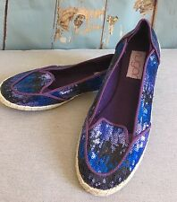 NEW Sugar Coconut Sequin Shoes size 7.5 Purple Blue Black Flats #54072-2