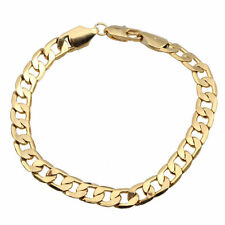 Real 18k yellow Gold filled Men's Women 8MM Bracelet Chain Birthday Xmas Gift