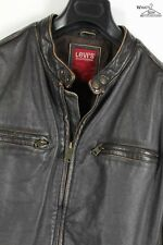 Levi's Distressed Classic Style Brown Leather Zip-Front Jacket Sz. L
