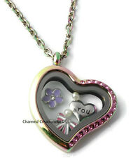 Pink CZ Rainbow Heart Stainless Steel Floating Charm Locket & Chain Necklace