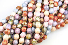 50 Opaque Luster Mix Czech Glass Faceted Round Beads 6MM