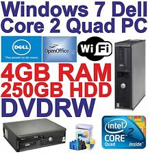 Windows 7 Dell Core 2 Quad Desktop PC Computer - 4GB RAM -250GB HDD - Wi-Fi-HDMI