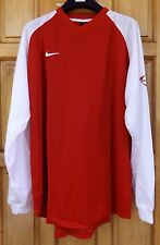 NIKE LONG SLEEVE MEN`S FOOTBALL JERSEY SHIRT SIZE XXL RED TOP - NEW