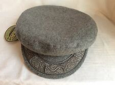 AERGEAN Authentic Greek Fisherman's Cap BY SCALA GRAY WOOL MEDIUM 7 1/8 57