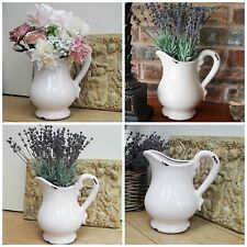 SHABBY CHIC VINTAGE STYLE CRACKLED CERAMIC JUG PITCHER VASE WEDDING TABLE DECOR