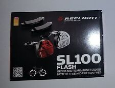 New Reelight SL100 flash bike bicycle front & rear light set no batteries