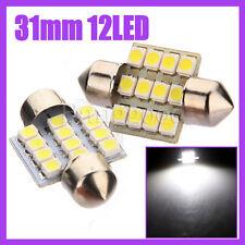 2X COPPIA LAMPADINE SILURO XENON TARGA/INTERNO T11 C5W 12 LED SMD 31MM BIANCO