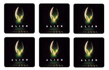 """ALIEN BEVERAGE COASTERS - 1/4"""" BAR & BEER SET OF 6"""