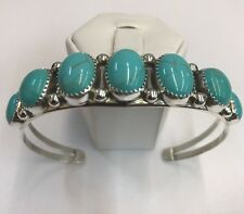 Native American sterling silver hand made navajo Turquoise Stone cuff bracelet