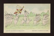Animals WW1? propoganda German Pigs military marching on Paris unused PPC
