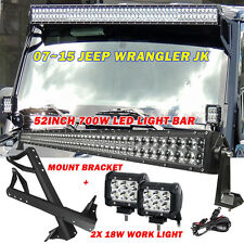 "52"" 700W 2X 18W osram LED Light bar +Mount Bracket Fit Jeep JK Wrangler 07-15 50"