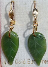 VINTAGE GENUINE 14K GF GREEN JADEITE JADE CARVED LEAF LEVER BACK EARRINGS