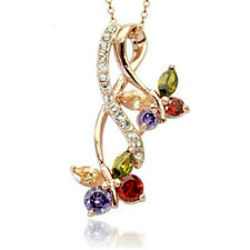 """Colourful rose gold finish butterfly pendant 18"""" necklace quality jewellery UK"""