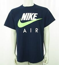 New Nike Vtg Gray Tag 90's Swoosh Navy Blue Tee Shirt Sz Large