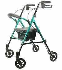 GREEN Rollator Walker with ADJUSTABLE Seat & Handle Height, 300 lb Capacity