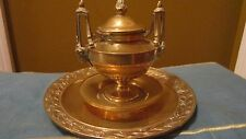 Antique large bronze brass Urn Inkwell with Laurel & Gothic Goat heads