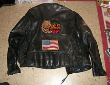 Vintage Heavy Leather Motorcycle race jacket w Harley Davidson patches USA Flag