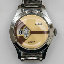 Vintage Endura Jump Hr. 17Jewel Swiss Digital Watch