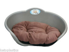 EXTRA LARGE PLASTIC SILVER GREY PET BED WITH BROWN CUSHION DOG CAT SLEEP BASKET