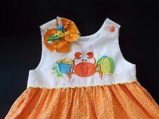 Austin & Ashley Beach Crab Beach Ball Orange White dots Dress 2pc 4T Hair Bow