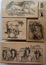 """Stampin up! """"Equestrian dream"""" Wood Mounted rubber stamp set of 6"""