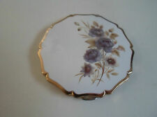 Collectable Vintage Retro + Mauve Flowers 1960's Stratton Powder Compact+Mirror