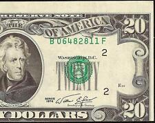 1974 $20 Dollar Bill Misalignment Shift Print Error Note Crisp Currency Money