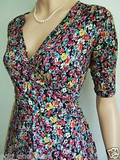 Size UK 14 vintage 40s WW2 style stretchy ditsy floral  wrap effect tea dress