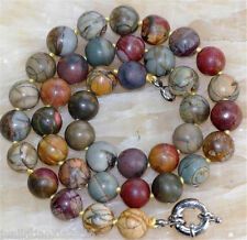 """AAA Natural 10mm Multicolor Picasso Jasper Round Beads Necklace 18"""""""