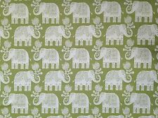 MARSON AMY ELEPHANT LIME GREEN CREAM WOVEN CURTAIN UPHOLSTERY FURNSIHING FABRIC
