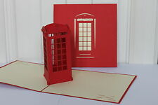 Red Telephone Box -3D Handmade Pop up Greeting Cards for All Occasions.