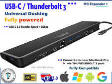 USB-C THUNDERBOLT 3 - 4K Universal Docking + Power = for MacBook PC Win GOOGLE