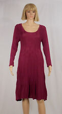 Connected Apparel Size Large Purple Fit N Flare Scoop Neck Sweater Dress NEW