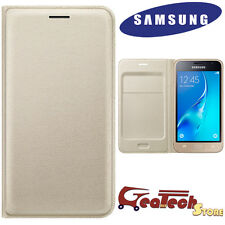 Custodia Flip Wallet Originale Samsung per Galaxy J7 2016 J710 Cover Pelle GOLD