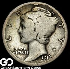 1916-D Mercury Dime, Always in Demand KEY Date Denver Issue, Tough This Nice, VG