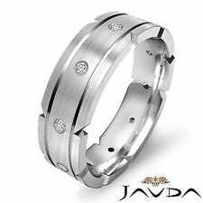 Bezel Round Natural Diamond Eternity Ring Mens Wedding Dome Band Platinum 0.21Ct