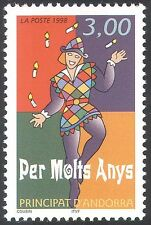Andorra 1998 Happy Birthday/Greetings/Pierrot/Clown/Animation 1v (n42674)