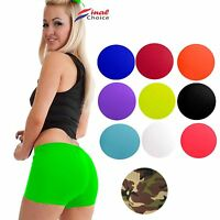 LADIES WOMENS SEXY STRETCHY NEON LYCRA HOT PANTS DANCE GYM SHORTS KNICKERS 8-16