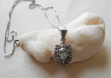 "Sterling Silver Marcasite & Aquamarine Pendant 19"" Necklace   182801"