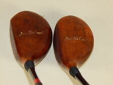 VINTAGE REFINISHED Wright & Ditson Joe Kirkwood #1 and #2 Golf Club Woods 1930's