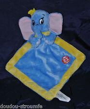 Peluche Doudou Dumbo l'Eléphant Plat DISNEY NICOTOY Bleu Bordé Jaune Ballon NEUF