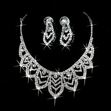 Bridal Wedding Party Prom Jewelry Set Crystal Rhinestone Necklace Earrings Hot