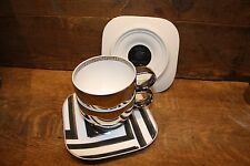"VERSACE by Rosenthal ""Dedalo Platinum"" set of 2 cups and 2 saucers NEW OLD STOCK"