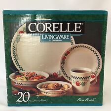 Corelle Farm Fresh 20 Piece Dinnerware Set New Sealed Box Plate Bowl Mug Apple