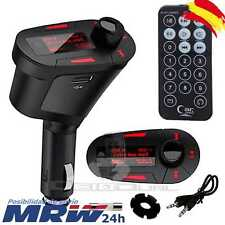 Reproductor Transmisor MP3 FM Mechero Coche Radio Volumen SD USB Led LCD Rojo