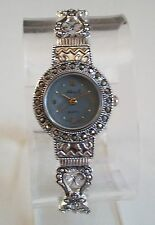 Silver/Black Vintage Style Look  Marcasite Women's Bangle Cuff Watch